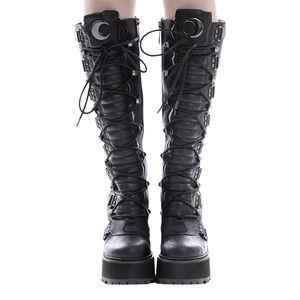 KILLSTAR Selene Platform High Lace Up Faux Leather Boots Vegan 6/37